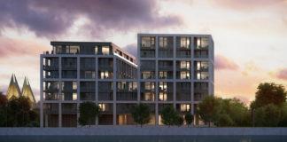 Avondbeeld Schelde 21 op duurzame site Nieuw Zuid te Antwerpen