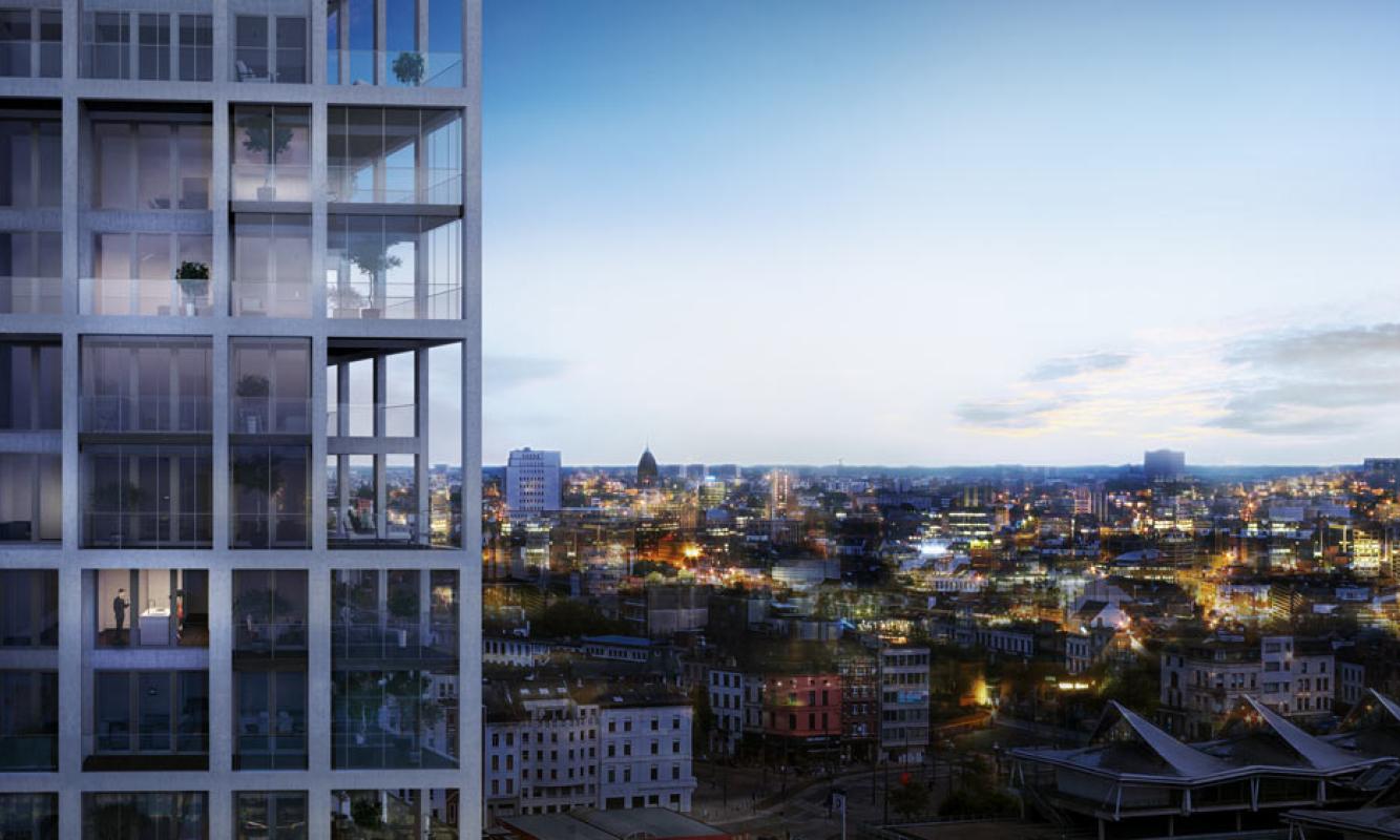 Avondbeeld Zuiderzicht op duurzame site Nieuw Zuid te Antwerpen